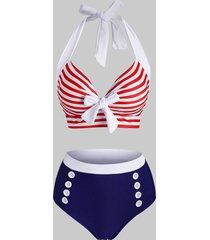 striped mock button tied halter tankini swimwear