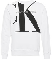 upscale monogram crew neck sweat-shirt trui wit calvin klein jeans