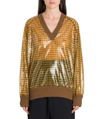 fendi sequined pullover with vichy pattern