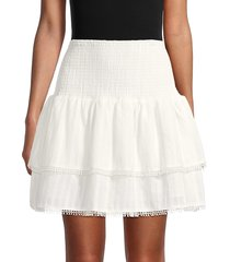 lea & viola women's eyelet mini skirt - white - size s