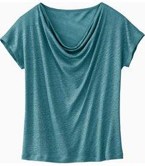 shirt met watervalhals, lagune 34