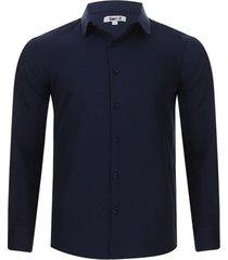 camisa formal m/l color azul, talla l