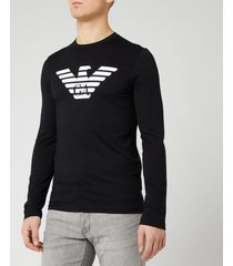 emporio armani men's long sleeve large eagle t-shirt - black - xxl