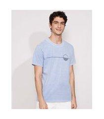 camiseta masculina manga curta sol gola careca azul claro
