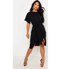 angel sleeve belted wrap midi dress, black