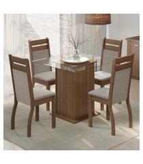 conjunto sala de jantar dijon madesa mesa tampo de vidro com 4 cadeiras marrom
