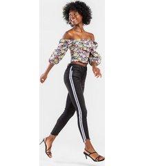 leonie racer-stripe skinny jeans - black