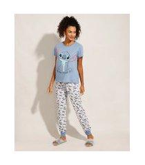 pijama de algodão estampado lilo e stitch manga curta azul claro