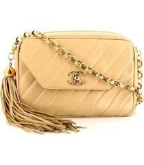 chanel pre-owned fringe detail quilted shoulder bag - neutrals