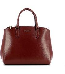 coccinelle dark red textured sortie top-handles bag