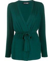 styland belted lightweight cardigan - green