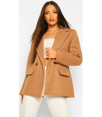 tall blazer achtige nepwollen jas, camel
