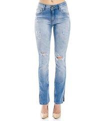 calça jeans boot cut destonada cantão