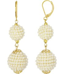 2028 gold-tone double seeded imitation pearl drop ball earrings