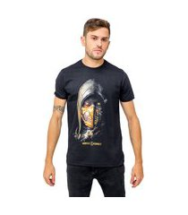 camiseta sideway mortal kombat x scorpion face - preta