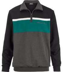 sweatshirt men plus zwart::groen::antraciet