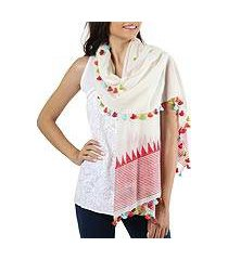 cotton shawl, 'pop of color' (india)