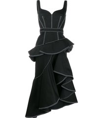 alexander mcqueen peplum denim midi dress - black