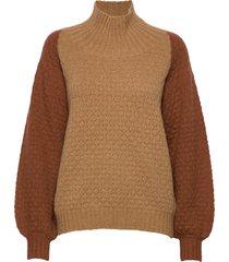 caress cable sweater turtleneck polotröja brun designers, remix