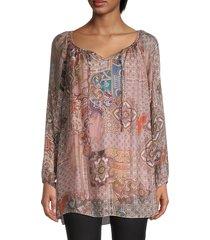 le marais women's paisley silk blouse - mauve - size xl