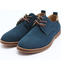 zapatos mocasines oxfords suede casual hombre -azul
