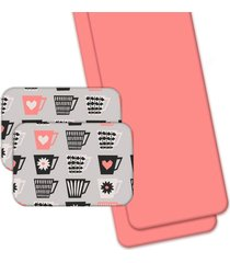 jogo americano love decor wevans com caminho de mesa love xícaras cinza/rosa
