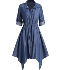 chambray handkerchief drawstring roll tab sleeve shirt dress