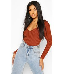 v neck ribbed knit top, brown