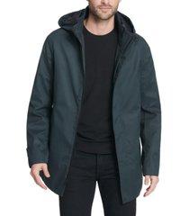 dkny men's all man micro fiber hooded jacket
