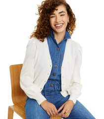 charter club cashmere puff-sleeve cardigan, in regular & petite sizes, created for macy's