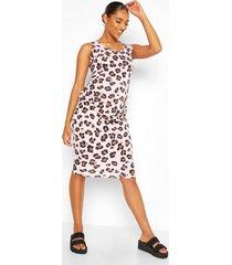 zwangerschaps geribbelde luipaardprint midi bodycon jurk, lichtroze