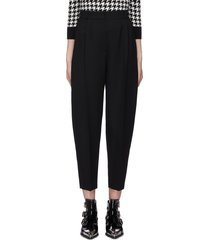 pleated tapered suiting pants