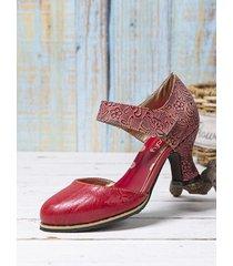 socofy elegante e comodo cinturino alla caviglia stampato con punta tonda gancio décolleté con tacco grosso indossabili