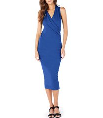 women's michael stars faux wrap midi dress, size small - blue