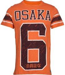 osaka 6 quarter back tee t-shirts short-sleeved orange superdry