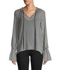 cream puff bell-sleeve gingham chiffon blouse