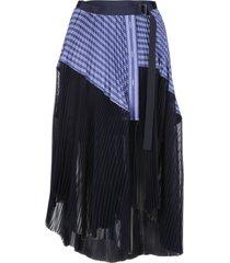 sacai blue cotton-blend skirt