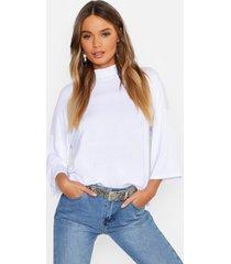 basic oversized high neck 3/4 sleeve t-shirt, white
