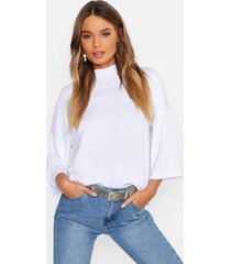 basic oversized t-shirt met hoge hals en driekwartsmouwen, wit