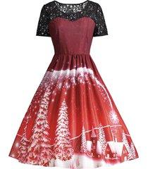 print lace panel vintage party dress