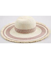 chapéu feminino listrado com aba desfiada bege