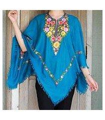 wool poncho, 'colorful affair' (india)