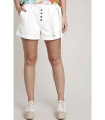 short de sarja feminino clochard com botões e faixa off white