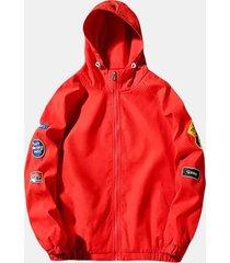 giacca con cappuccio alla moda allentata casuale di colore solido della lettera stampata mens di epaulet