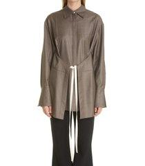 women's peter do loro piana wool apron shirt, size 4 us - grey