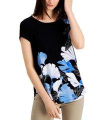 alfani petite knit printed t-shirt, created for macy's