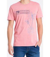 camiseta masculina ckj coqueiros vermelha calvin klein jeans - pp