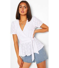 broderie anglaise wrap top, white