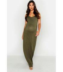 maternity scoop neck maxi dress, khaki