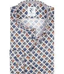 overhemd blauw bruin geprint r2